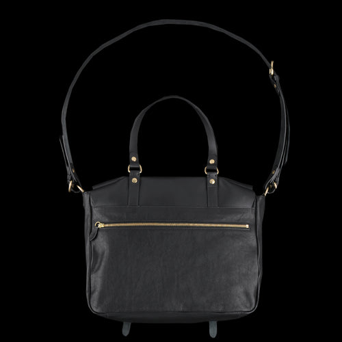 Double Buckle Snap Messenger with Shoulder Handle in Black