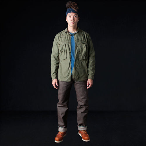 Broad Cloth Anorak Shirt Jacket in Khaki