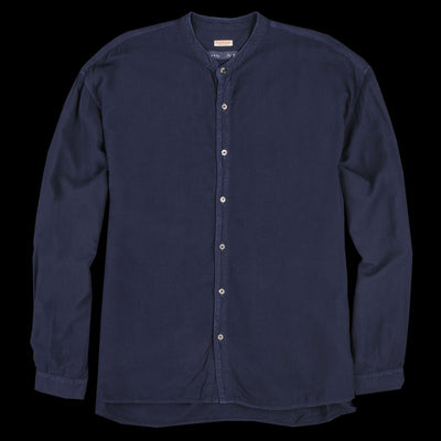 Kapital - Indigo Rayon Shirt with Band Collar in Pro