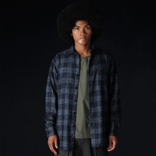 Wool Plaid Overshirt in Navy and Green
