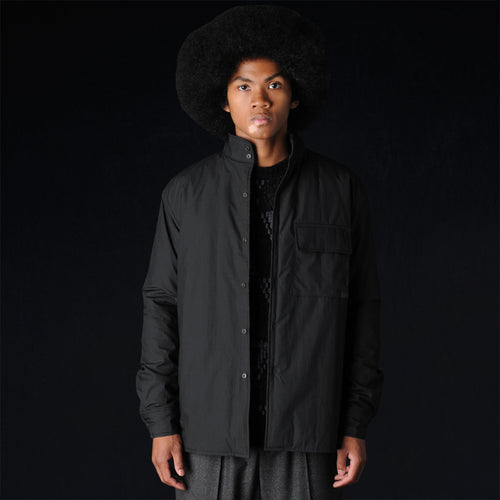 Poplin Padded Mock Neck Overshirt in Black