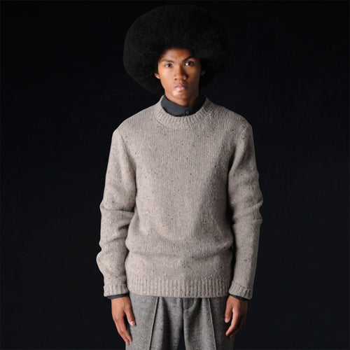 Cashmere Tweed Crew Sweater in Sand