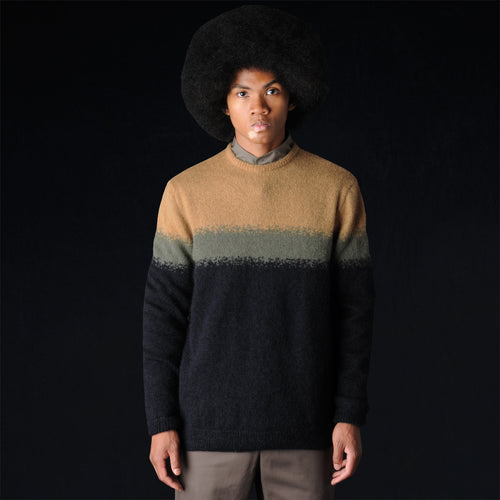 Kid Mohair and Wool Colorblock Crew Sweater in Gold Moss and Navy