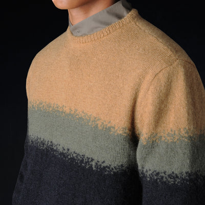 Deveaux - Kid Mohair and Wool Colorblock Crew Sweater in Gold Moss and Navy