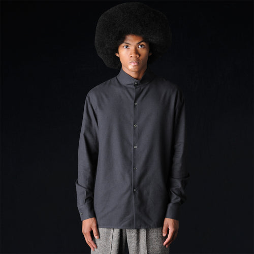 Button Mock Neck Shirt in Black