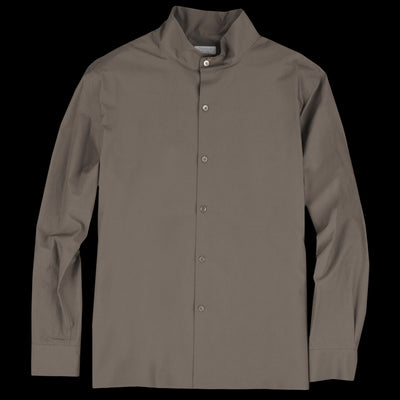 Deveaux - Button Mock Neck Shirt Earth