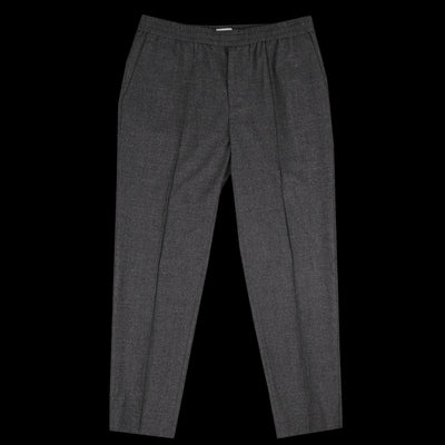 Deveaux - Stretchy Flannel Elastic Pintuck Pant in Dark Grey