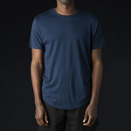 Hand Pigment Dyed Crew in Midnight Blue