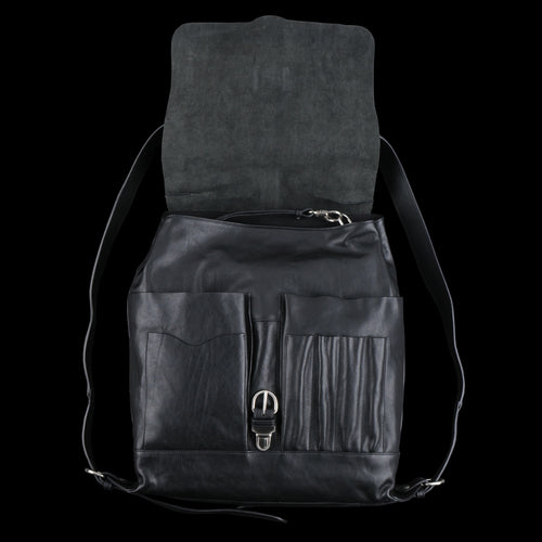 Vintage Cowhide New Inside Out Backpack in Nero and Nickel