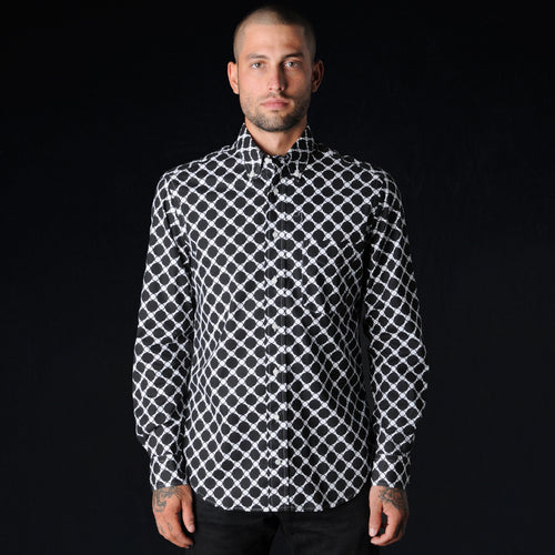 Multi Dots Long Sleeve Button Down Shirt in Black and White