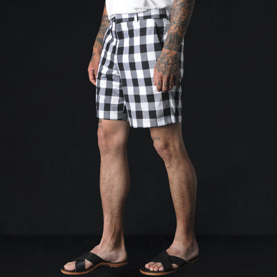 Gitman Vintage - Medium Gingham Flat Front Short in Black and White