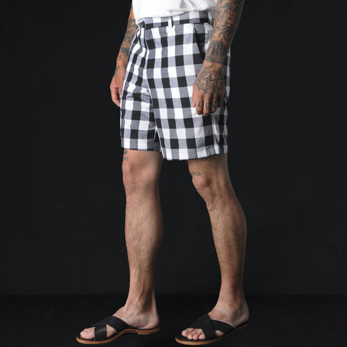 Medium Gingham Flat Front Short in Black and White