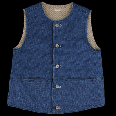 Kapital - Sashiko Denim and Fleece Jerkin Vest in Indigo
