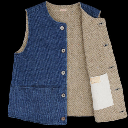 Sashiko Denim and Fleece Jerkin Vest in Indigo