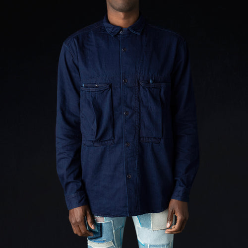 8OZ IDGxIDG Denim Anorak Shirt in Indigo