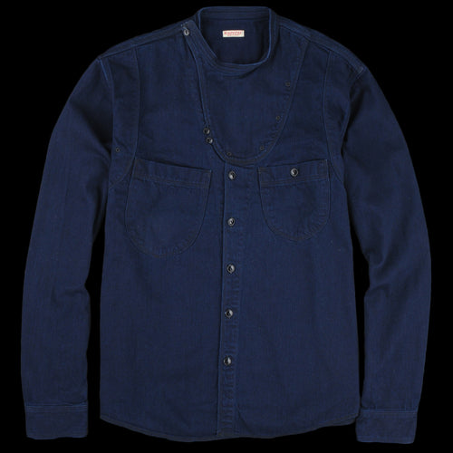 8OZ IDGxIDG Denim Band Collar Rollar Shirt in Indigo