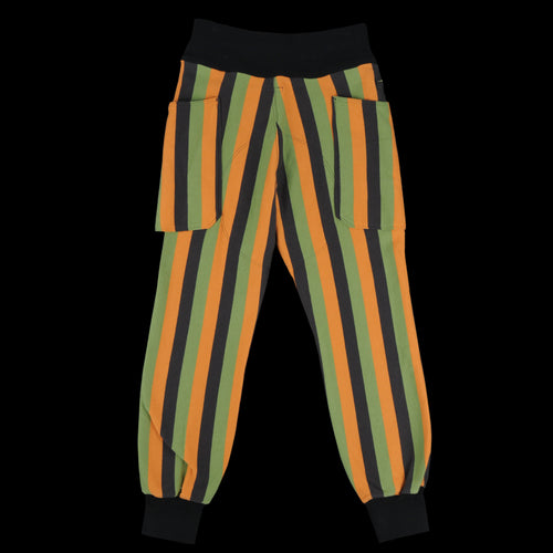 Kabuki Stripe Fleece Sweatpants in Orange Green and Black