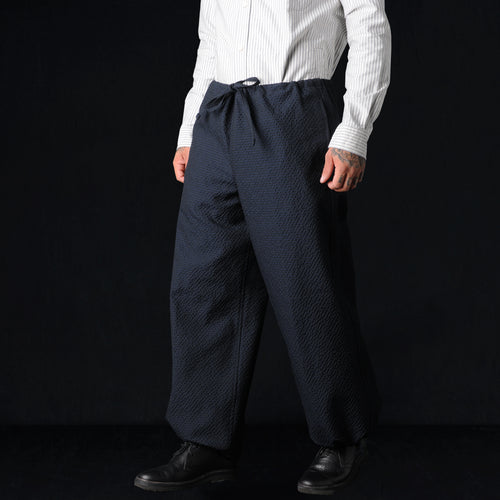 Wool Poly Seersucker Drawstring Wide Pant in Navy