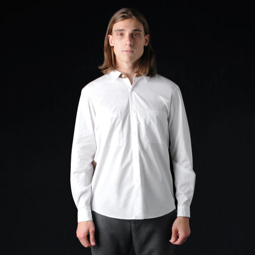 Tricot Contrast Shirt in White and Khaki