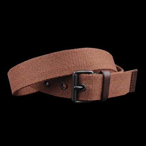 Roller Buckle Webbing Belt in Rust