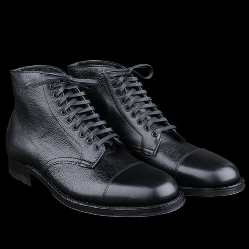 Stanyan Cap Toe Boot in Black Regina Grain D6831C