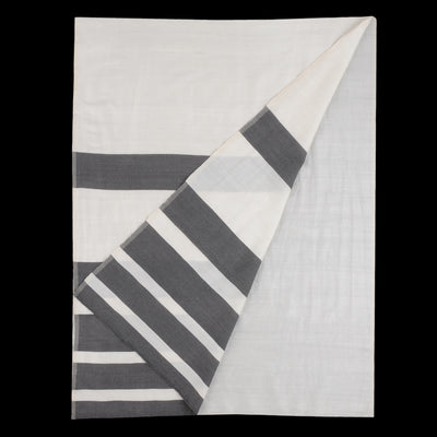 Monsoon Home - Color Bands Wool Silk Scarf in Ivory & Black