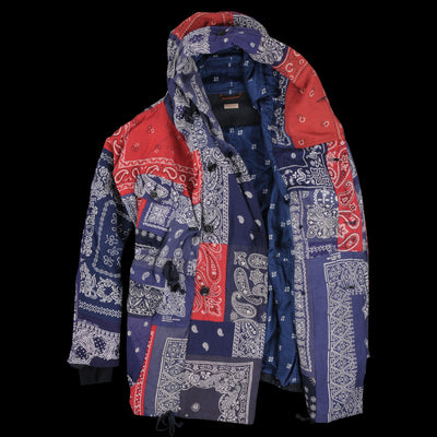 Kapital - Bandana Patchwork Ring Coat in Blue & Red
