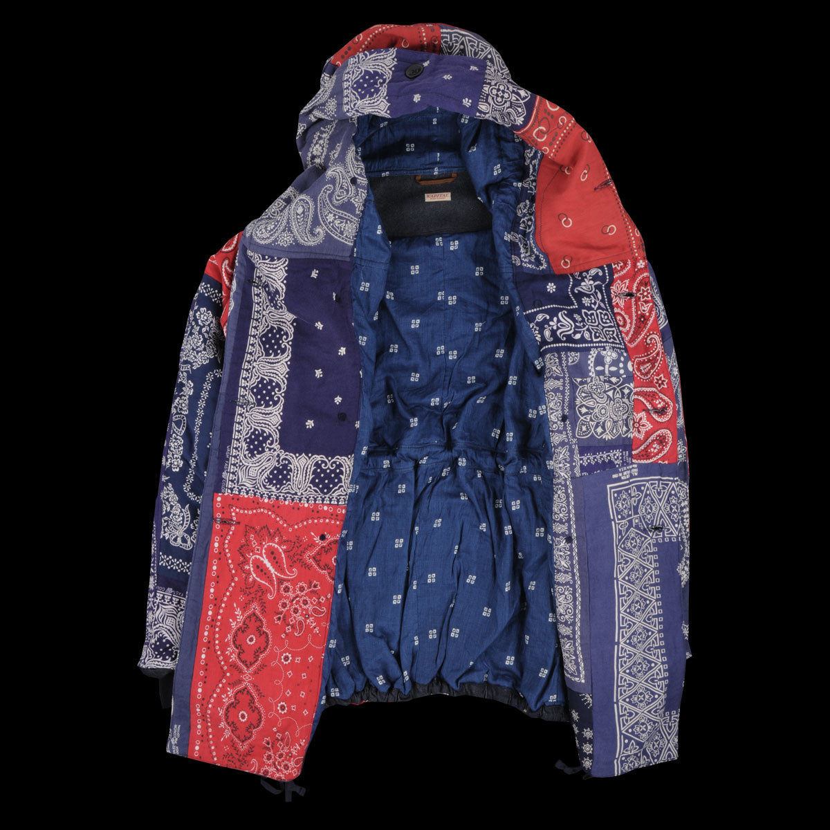 Bandana Patchwork Ring Coat in Blue & Red