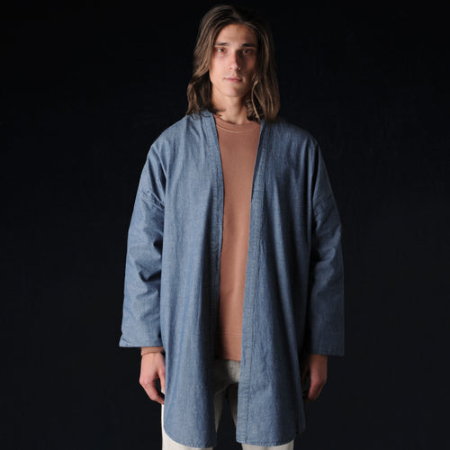 Haori Shirt Jacket in Light Blue Chambray