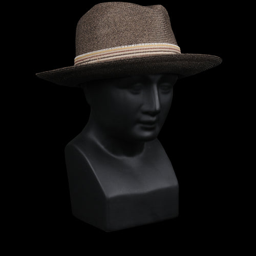 Pelligri Toyo Fedora with Hessian in Brown