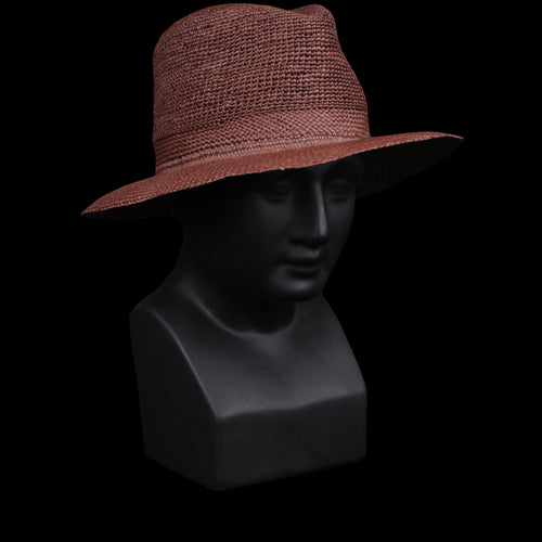 Gauze Open Crown Panama Fedora in Rust