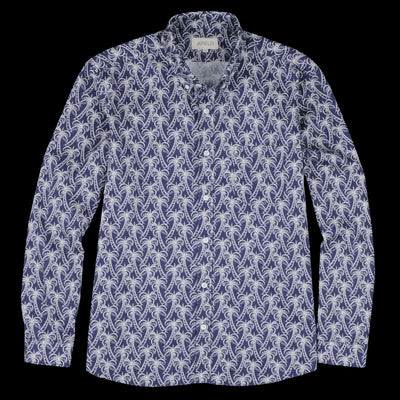 Far Afield - Mod Button Down Shirt in Navy Palm