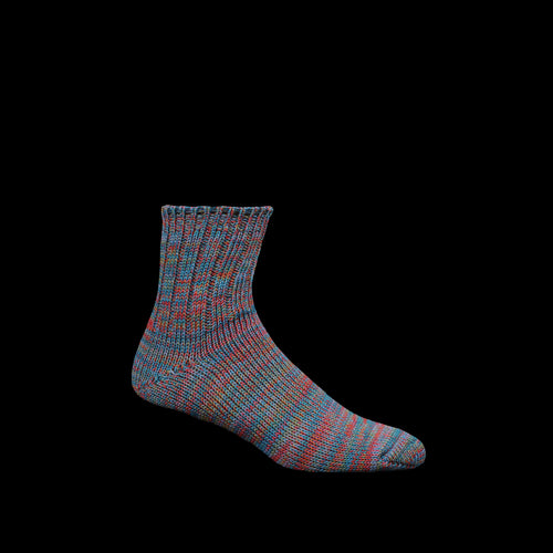 5 Color Mix Quarter Sock in Navy & Red