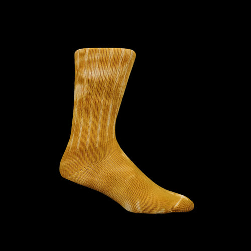 Uneven Dye Crew Sock in Gold