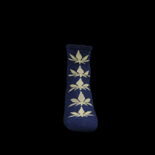 Go Hemp Pattern Pile Quarter Sock in Navy