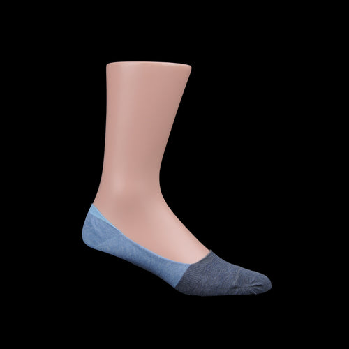 Organic Cotton Two Tone Intact In Loafer Sock in Blue