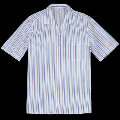 Arpenteur - Pyjama Coolmax Short Sleeve Shirt in White Stripe