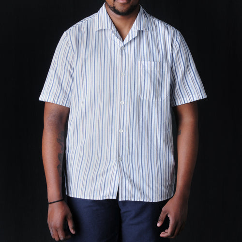 Pyjama Coolmax Short Sleeve Shirt in White Stripe