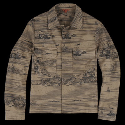 Barena - Bembo Map Overshirt in Khaki
