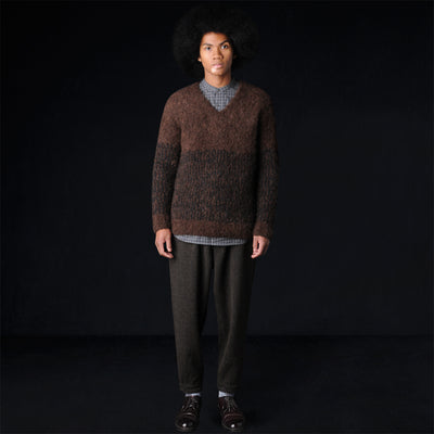 Haversack - Wool Alpaca Curly Vee Neck Sweater in Brown & Black