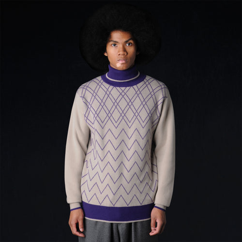 Cashmere Turtleneck Sweater in Nude & Purple Argyle