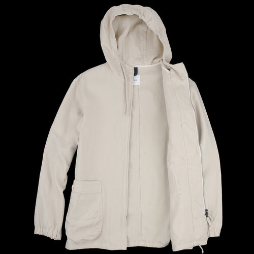 Double Twill Gathered Round Pocket Zip Up Parka in Light Beige