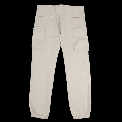 Double Twill Gathered Round Pocket Pant in Light Beige