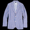 Ts(S) - Alternate Stripe Linen Two Button Patch Pocket Jacket in Blue