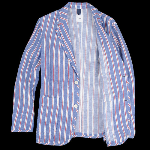 Alternate Stripe Linen Two Button Patch Pocket Jacket in Blue