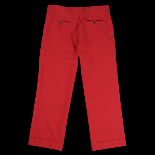 Garment Dye Cotton Wool Two Pleat Wide Pant in Red