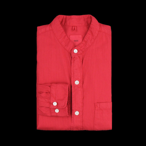 Garment Dye Herringbone Band Collar Long Shirt in Red