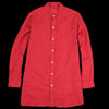 Ts(S) - Garment Dye Herringbone Band Collar Long Shirt in Red