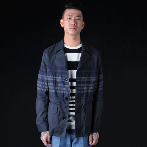 Panel Stripe Military Jacket in Blue