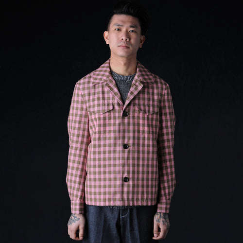 Silk Seersucker Shirt Jacket in Pink & Brown Check
